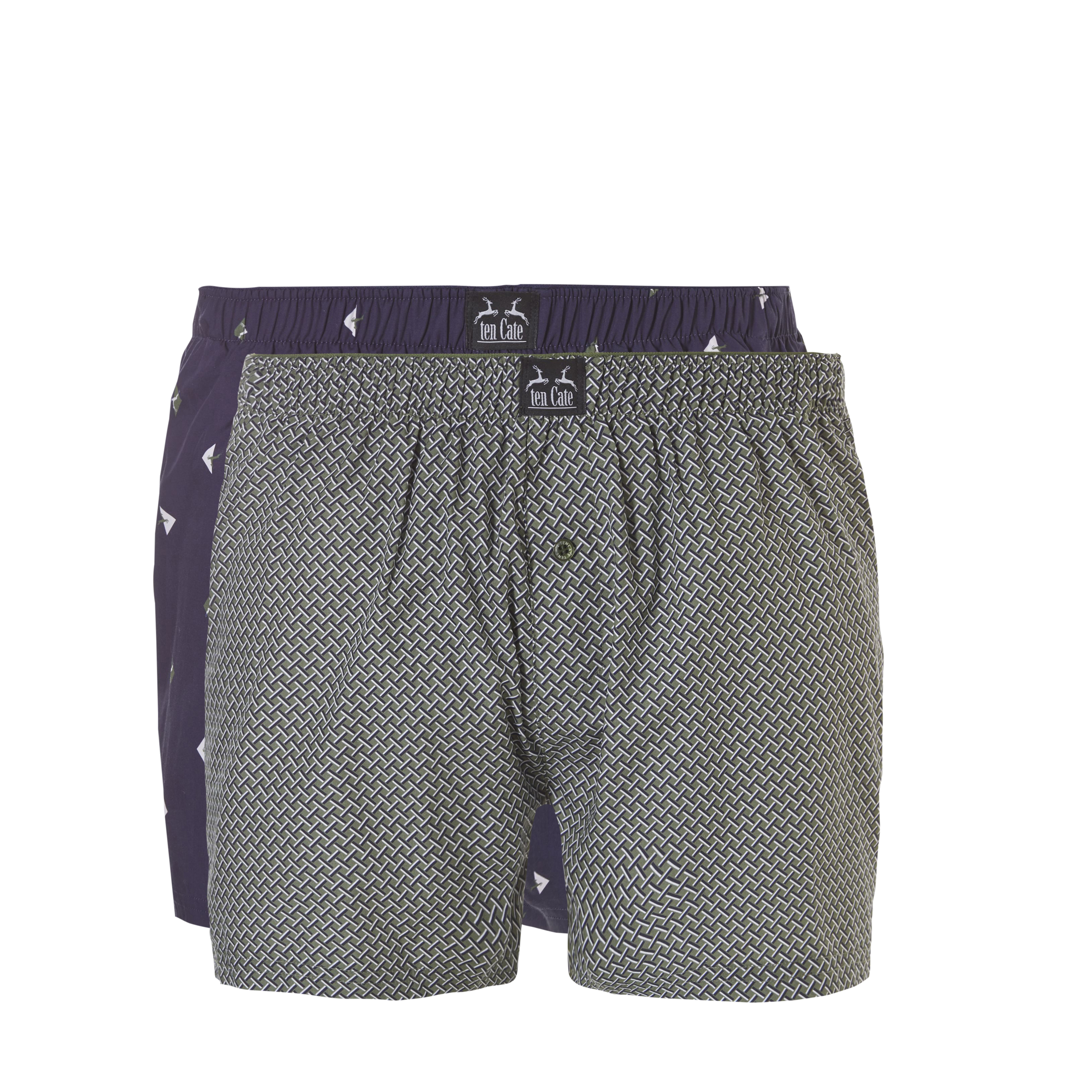 Ten Cate Woven Boxershorts 2-Pack Navy Triangle/Green Weave-M