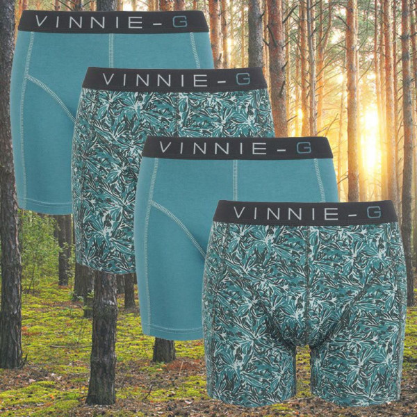 KK Vinnie-G boxershorts Leaves Print-Light 4-pack