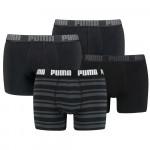 Puma boxershorts Combi Basic/Stripe Zwart 4-pack