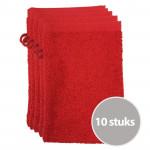 The One Voordeelpakket Washandjes Rood - 10 stuks